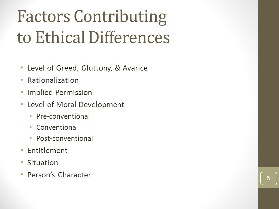Factors Contributing to Ethical Differences