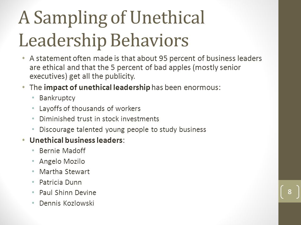 A Sampling of Unethical Leadership Behaviors