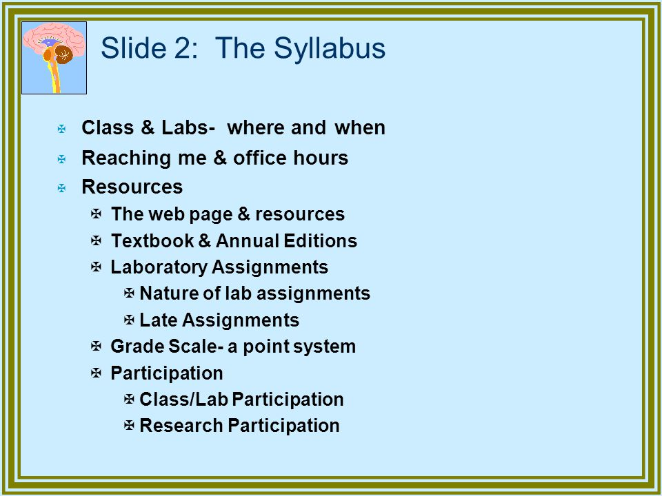 Slide 2: The Syllabus Class & Labs- where and when