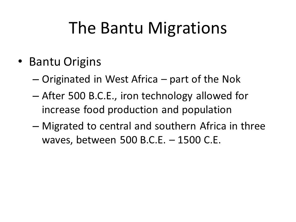 The Bantu Migrations Bantu Origins