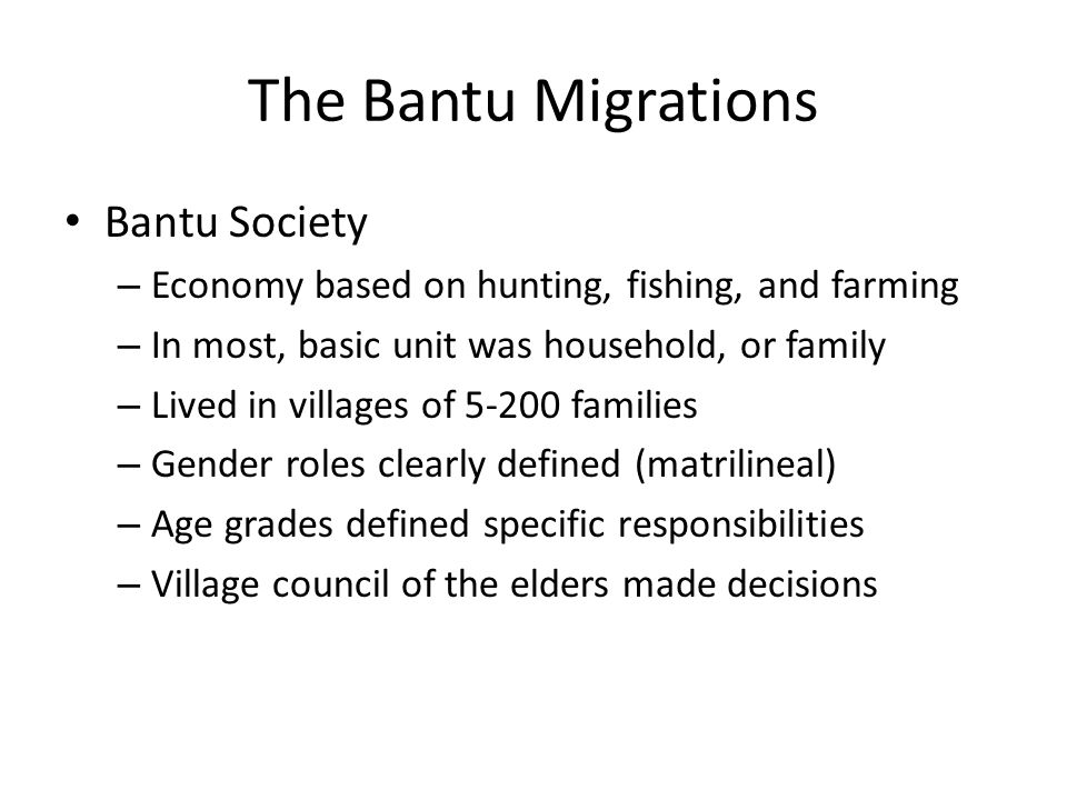 The Bantu Migrations Bantu Society
