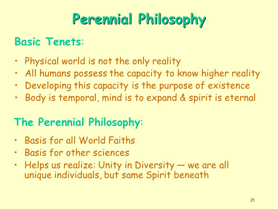Perennial Philosophy Basic Tenets: The Perennial Philosophy: