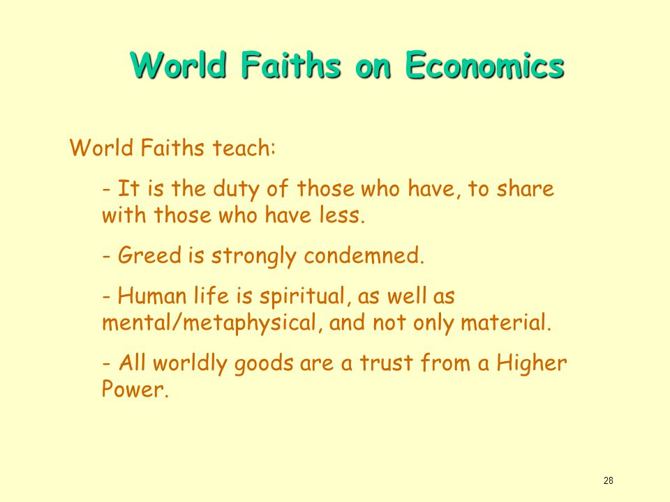 World Faiths on Economics