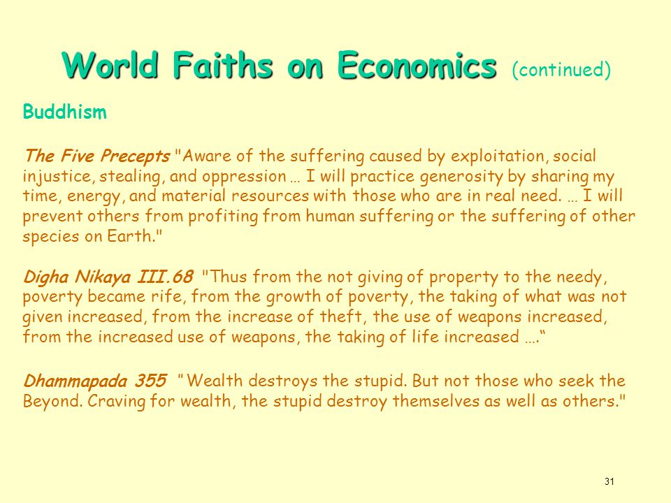 World Faiths on Economics (continued)