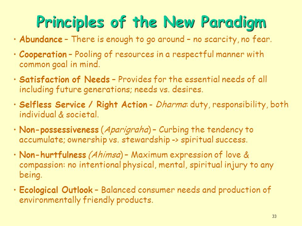 Principles of the New Paradigm