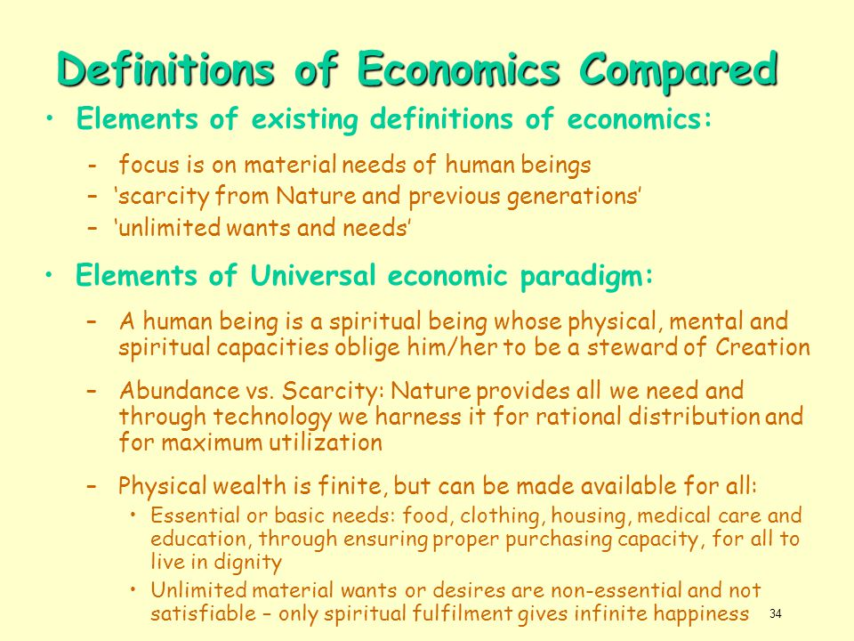 Definitions of Economics Compared