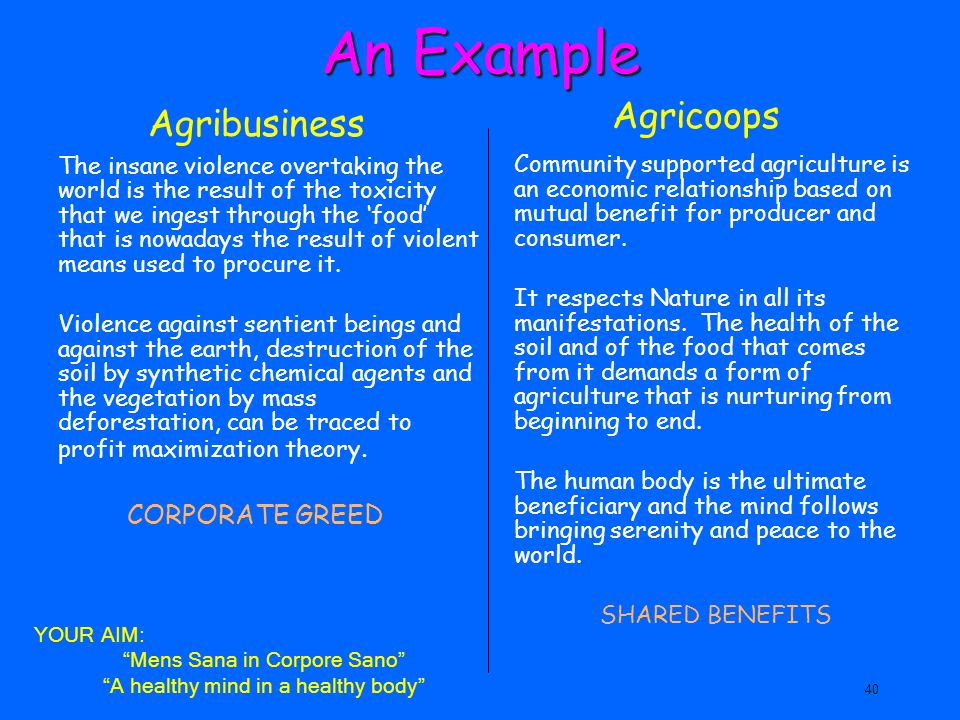 An Example Agricoops Agribusiness CORPORATE GREED
