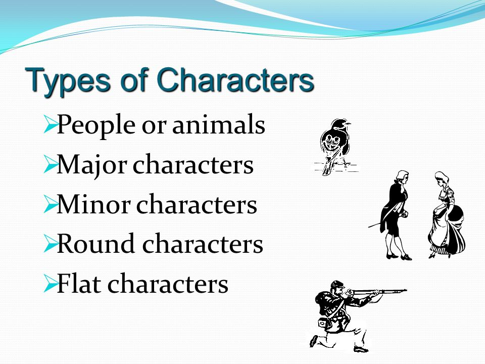 Types of Characters People or animals Major characters