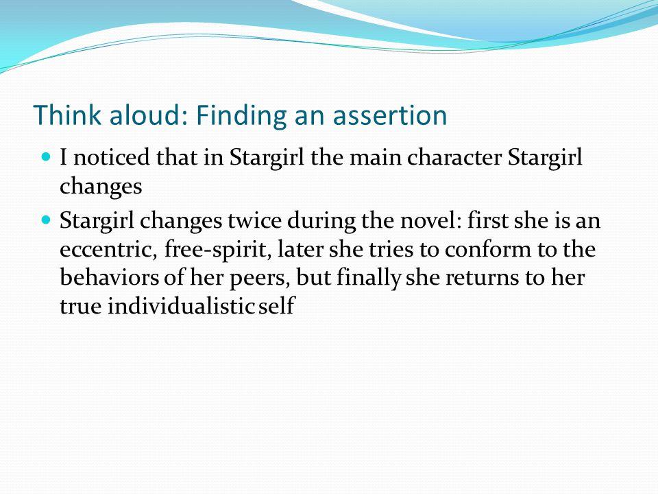 Think aloud: Finding an assertion