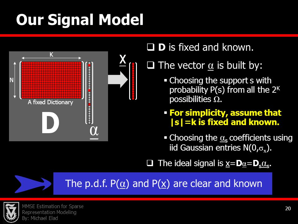 Our Signal Model D is fixed and known. The vector α is built by: