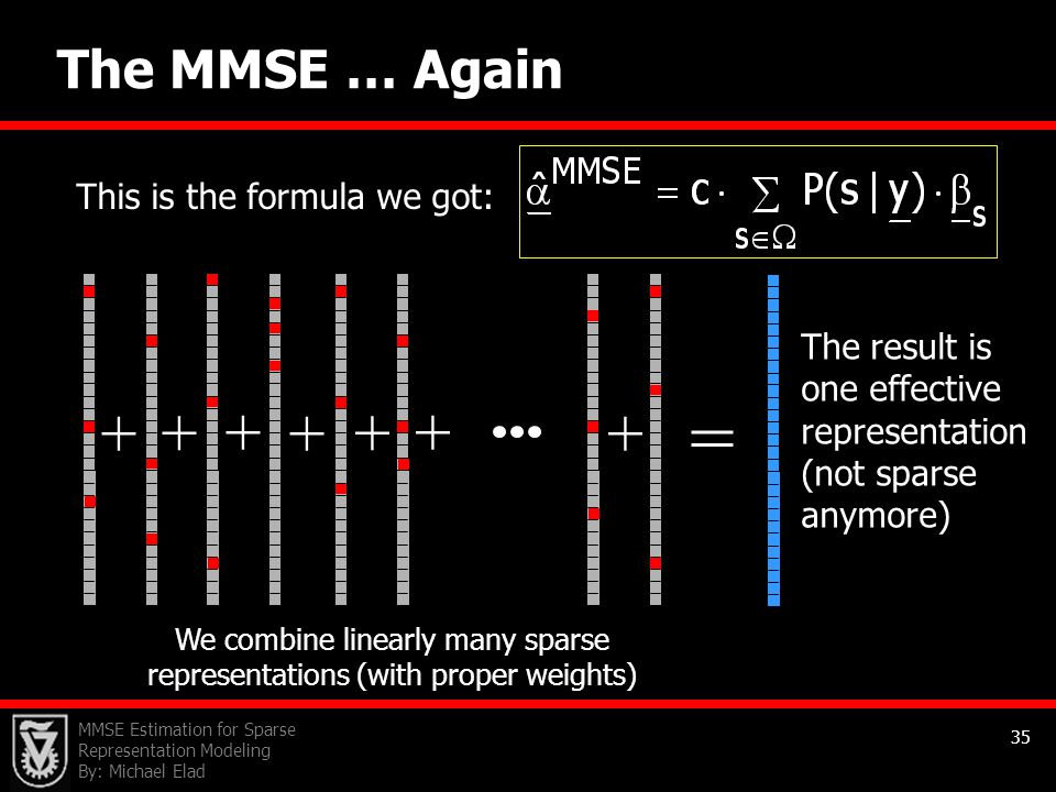= + The MMSE … Again This is the formula we got:
