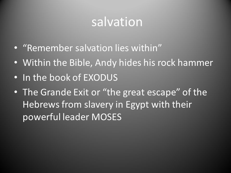 salvation Remember salvation lies within