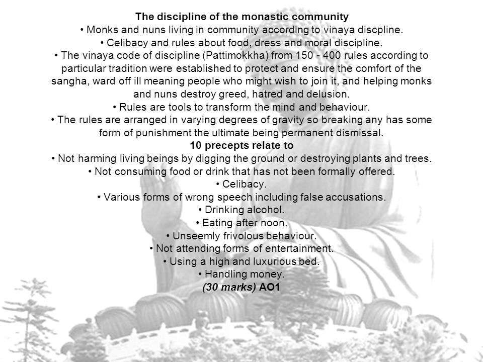 The discipline of the monastic community • Monks and nuns living in community according to vinaya discpline.