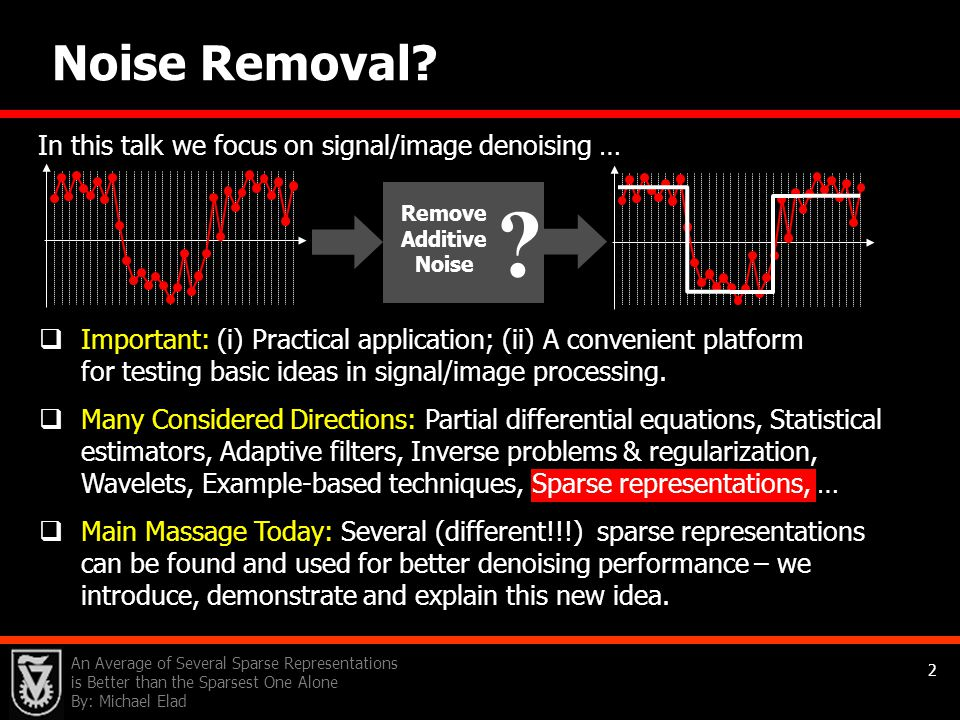 Noise Removal In this talk we focus on signal/image denoising …