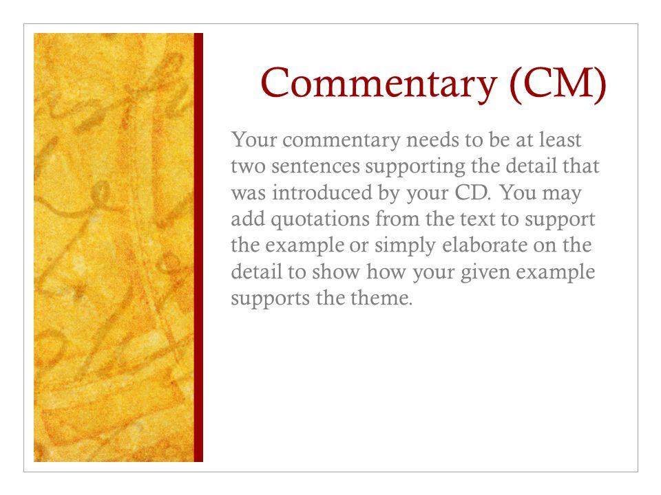 Commentary (CM)