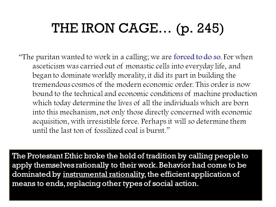 THE IRON CAGE… (p. 245)