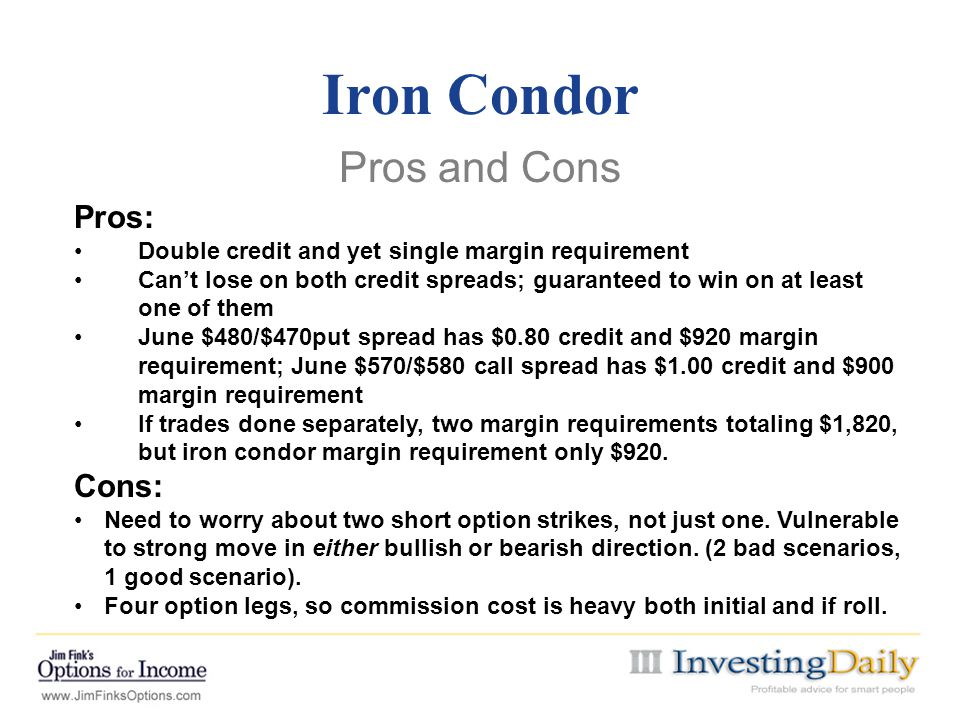 Iron Condor Pros and Cons Pros: Cons:
