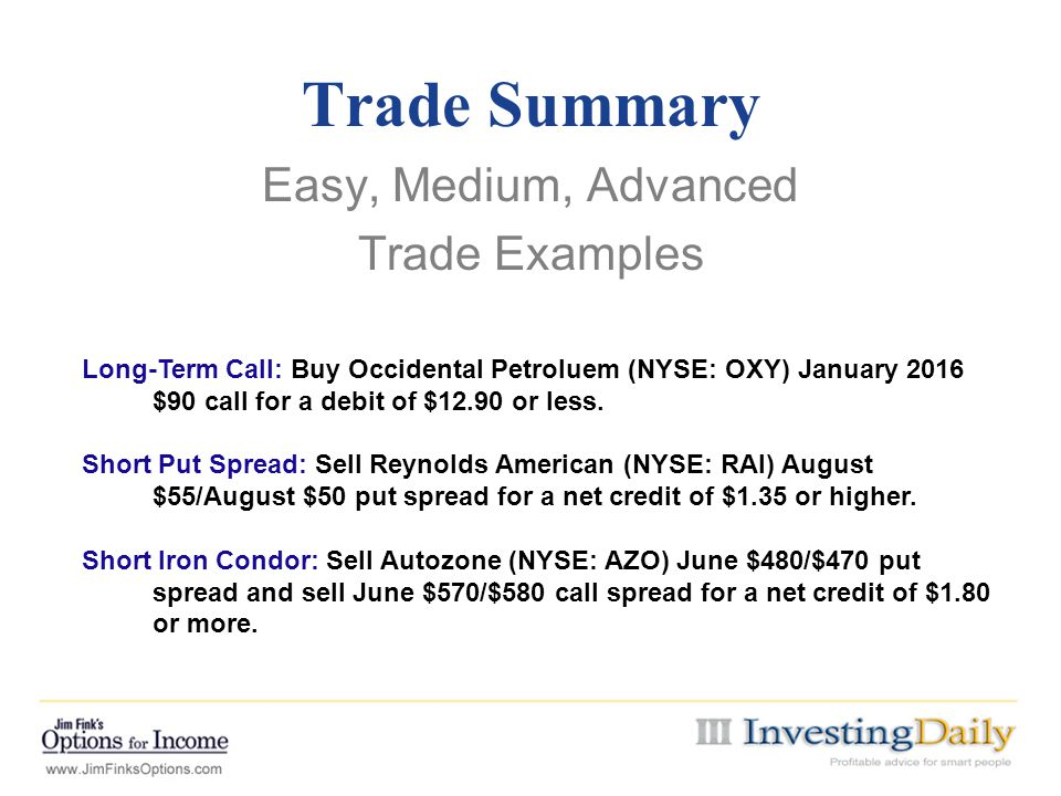 Easy, Medium, Advanced Trade Examples