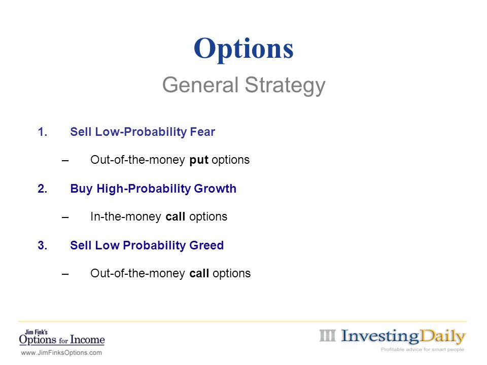 Options General Strategy Sell Low-Probability Fear