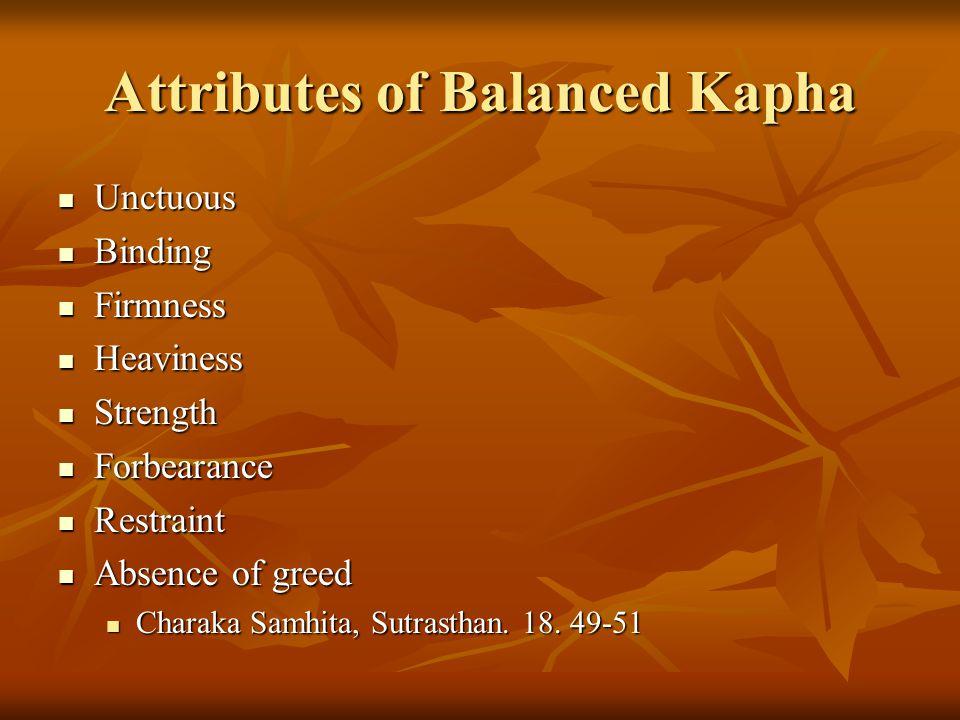 Attributes of Balanced Kapha