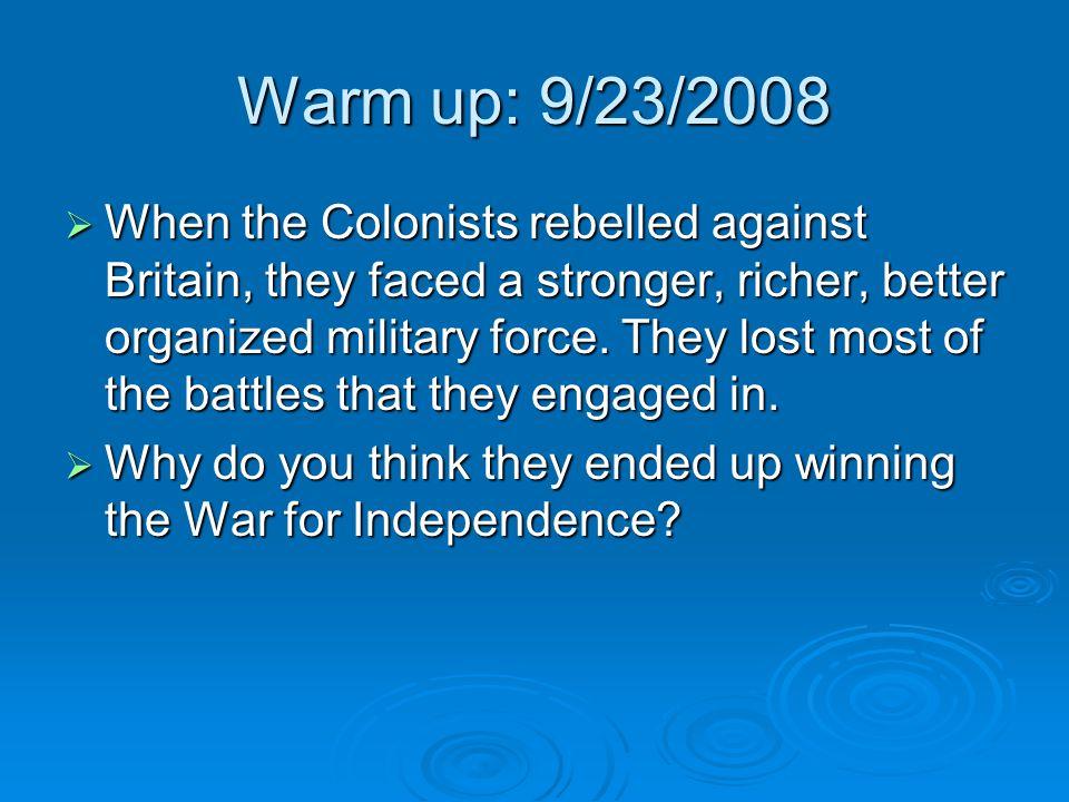 Warm up: 9/23/2008