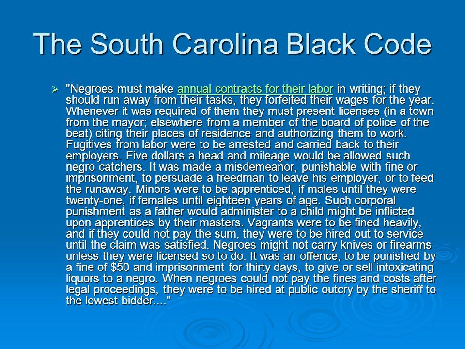 The South Carolina Black Code