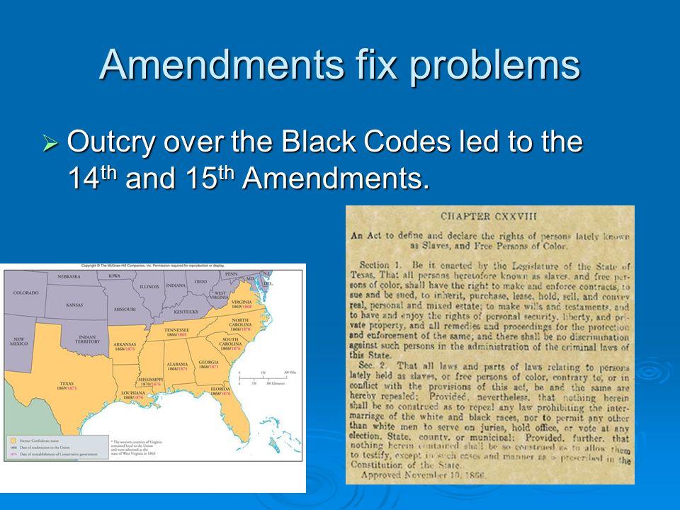Amendments fix problems