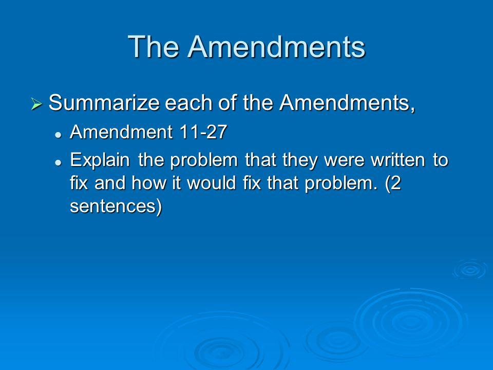 The Amendments Summarize each of the Amendments, Amendment 11-27