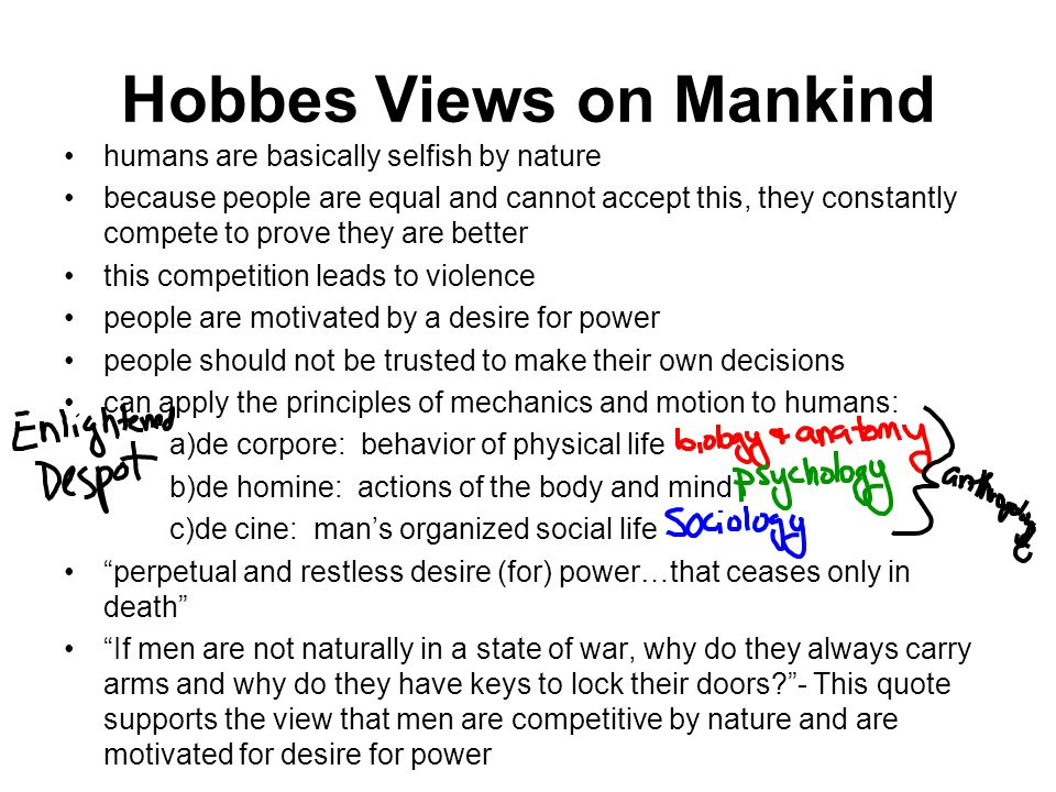 Hobbes Views on Mankind
