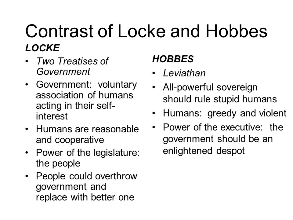 Contrast of Locke and Hobbes