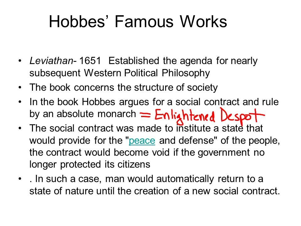 Hobbes' Famous Works Leviathan- 1651 Established the agenda for nearly subsequent Western Political Philosophy.