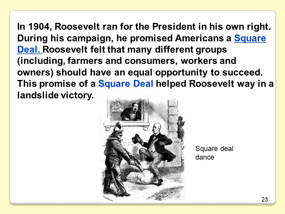 In 1904, Roosevelt ran for the President in his own right