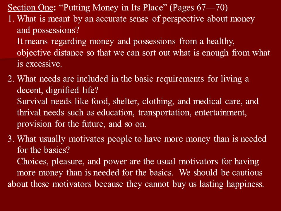 Section One: Putting Money in Its Place (Pages 67—70)