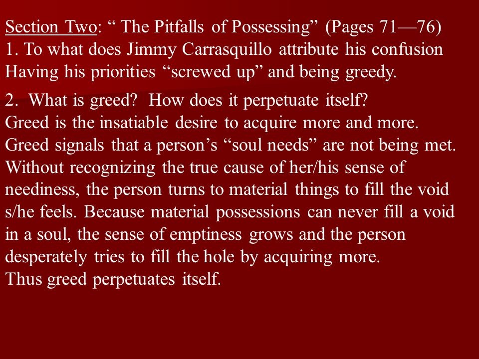 Section Two: The Pitfalls of Possessing (Pages 71—76)