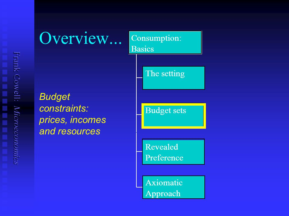 Overview... Budget constraints: prices, incomes and resources