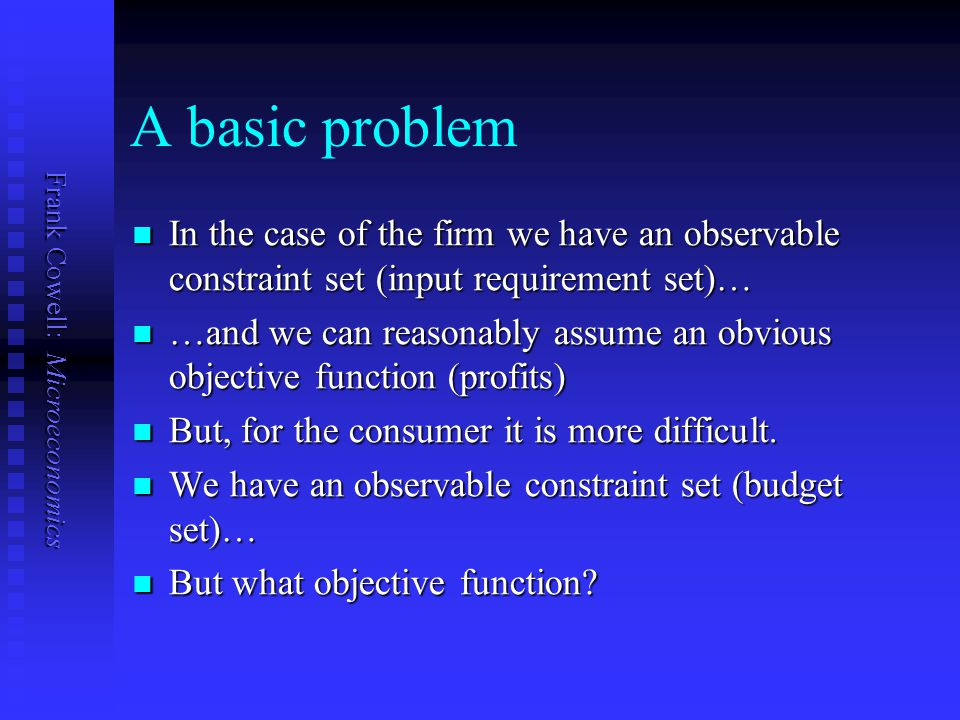 A basic problem In the case of the firm we have an observable constraint set (input requirement set)…