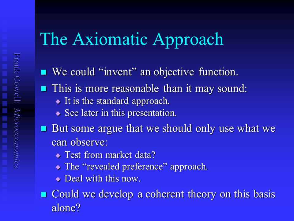 The Axiomatic Approach