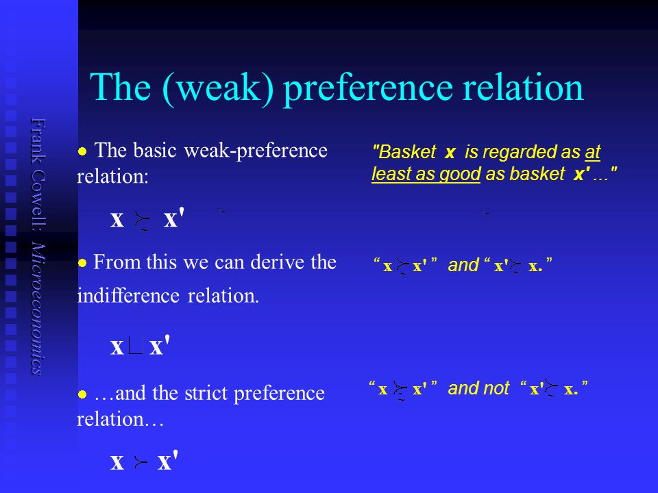 The (weak) preference relation