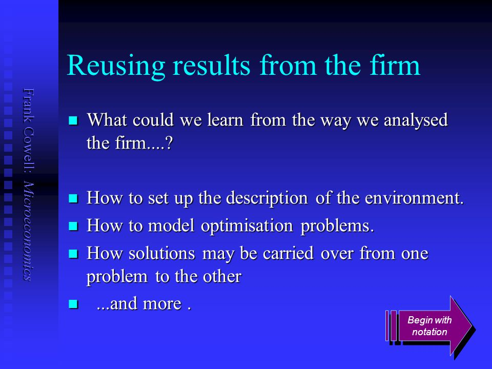 Reusing results from the firm