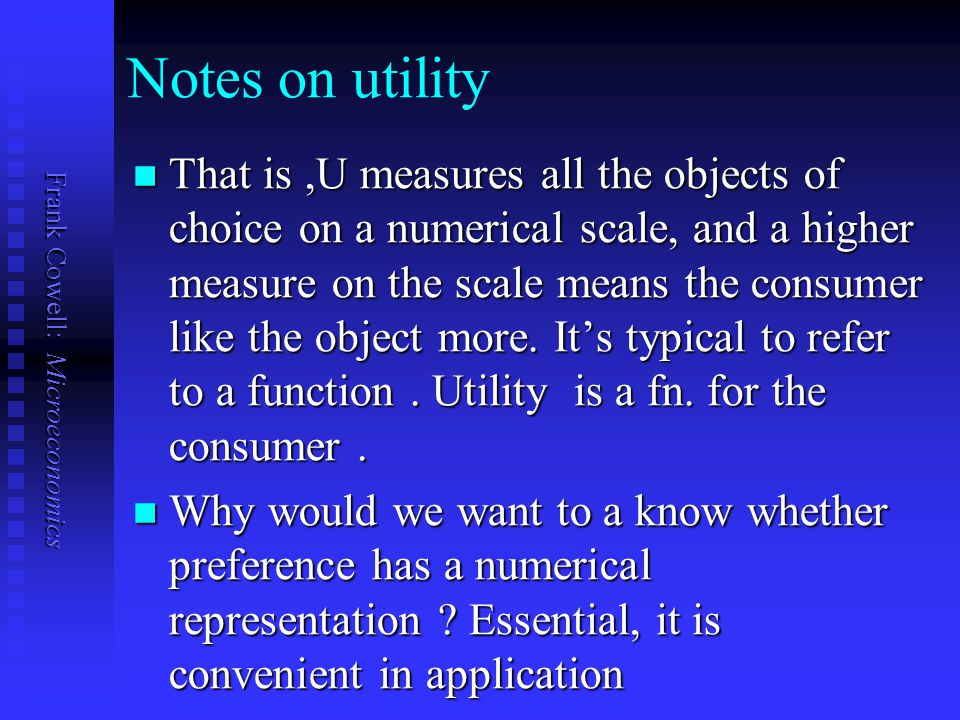 Notes on utility