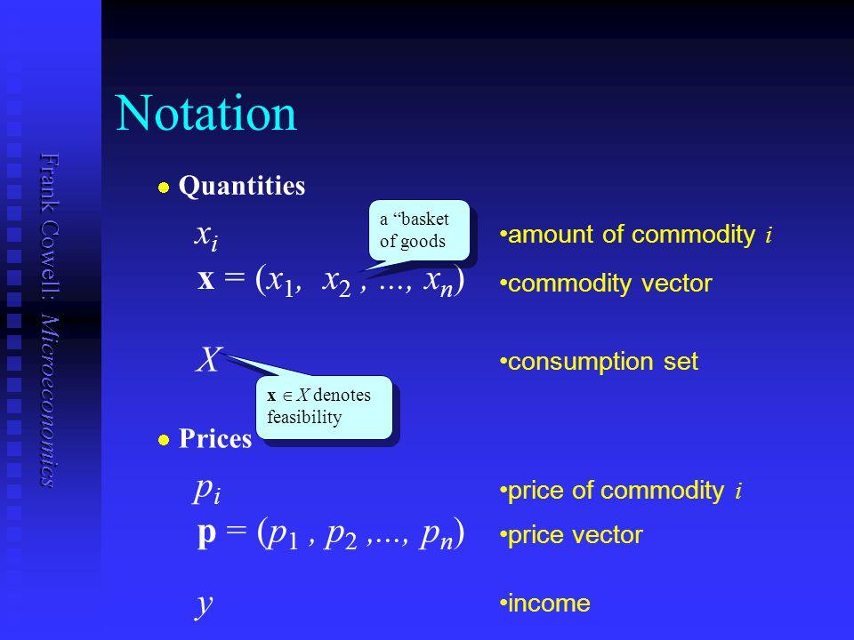 Notation xi x = (x1, x2 , ..., xn) X pi p = (p1 , p2 ,..., pn) y