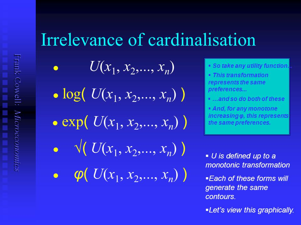 Irrelevance of cardinalisation