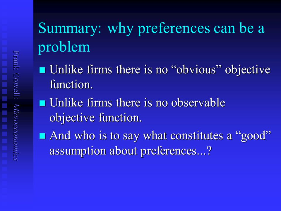 Summary: why preferences can be a problem