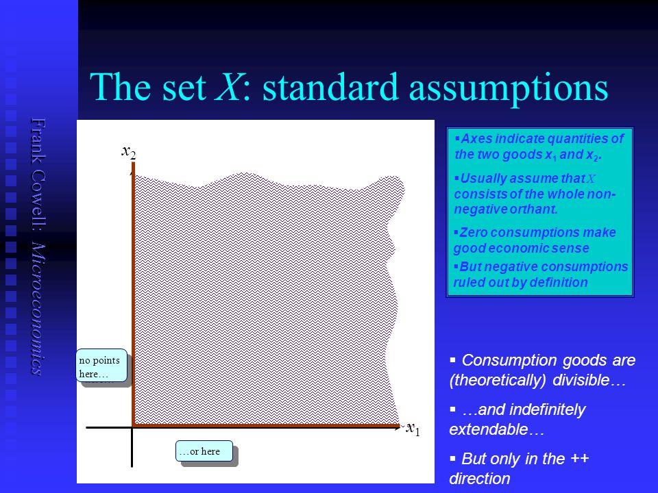 The set X: standard assumptions