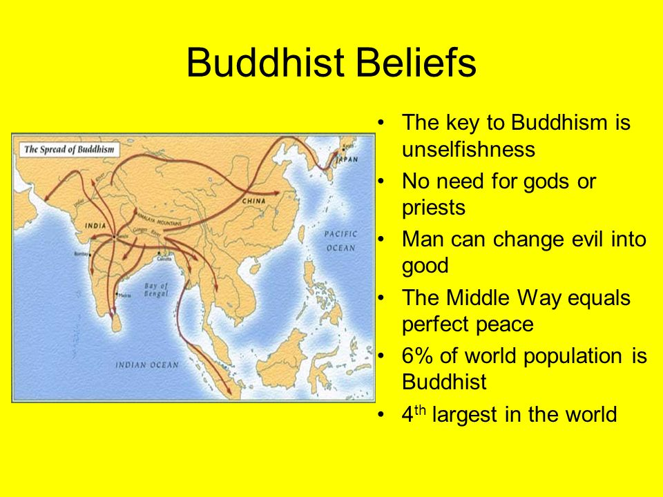 Buddhist Beliefs The key to Buddhism is unselfishness