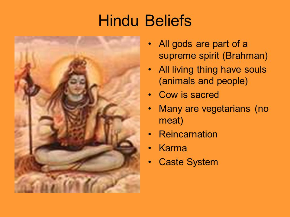 Hindu Beliefs All gods are part of a supreme spirit (Brahman)