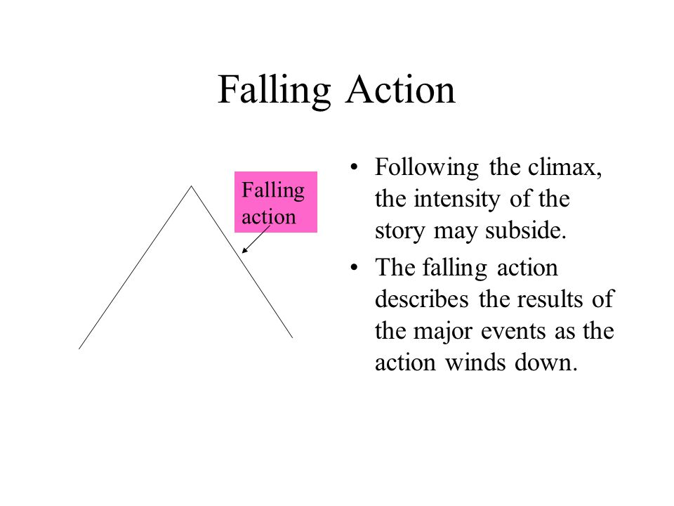 Falling Action Following the climax, the intensity of the story may subside.