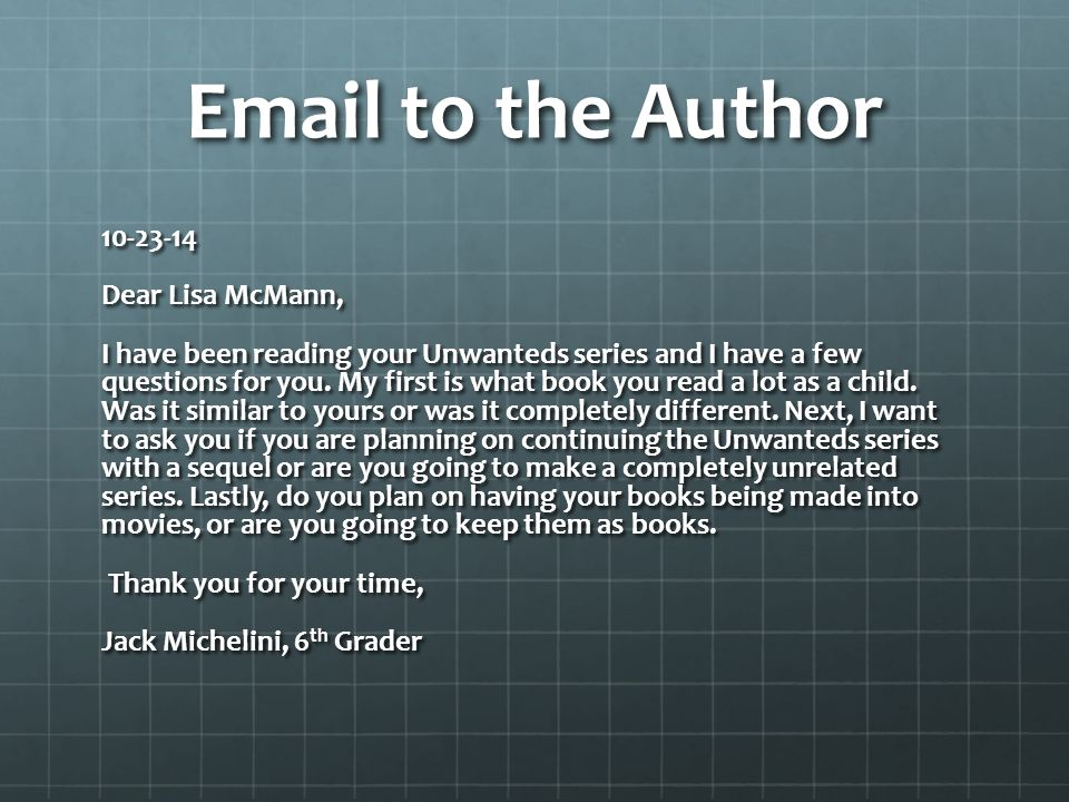 Email to the Author