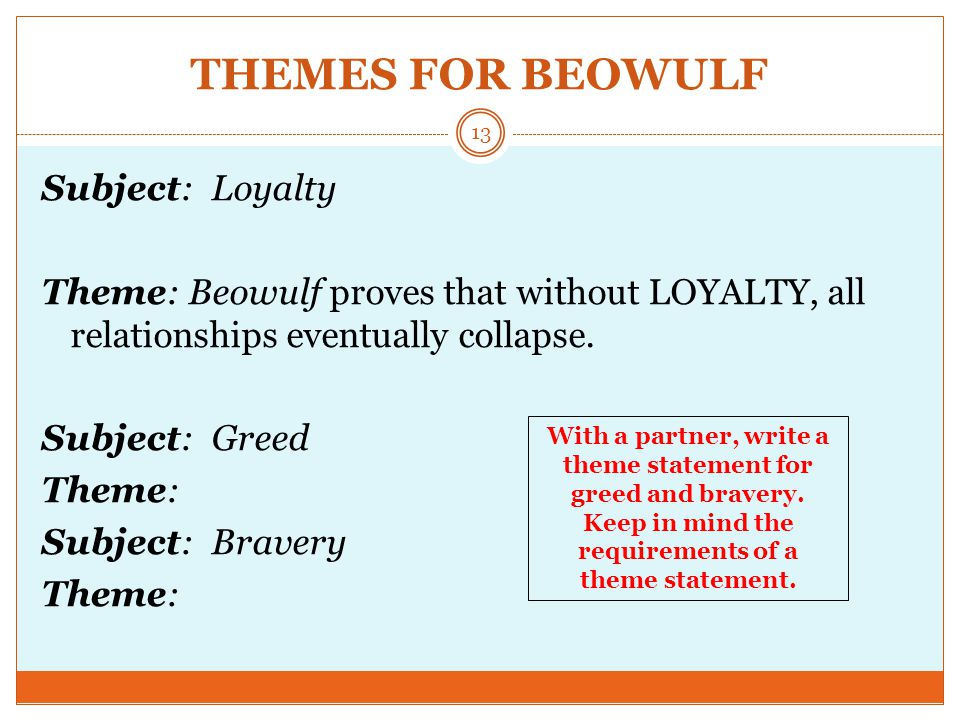 THEMES FOR BEOWULF