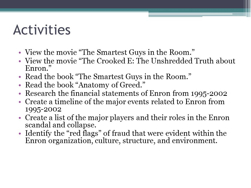 Activities View the movie The Smartest Guys in the Room.